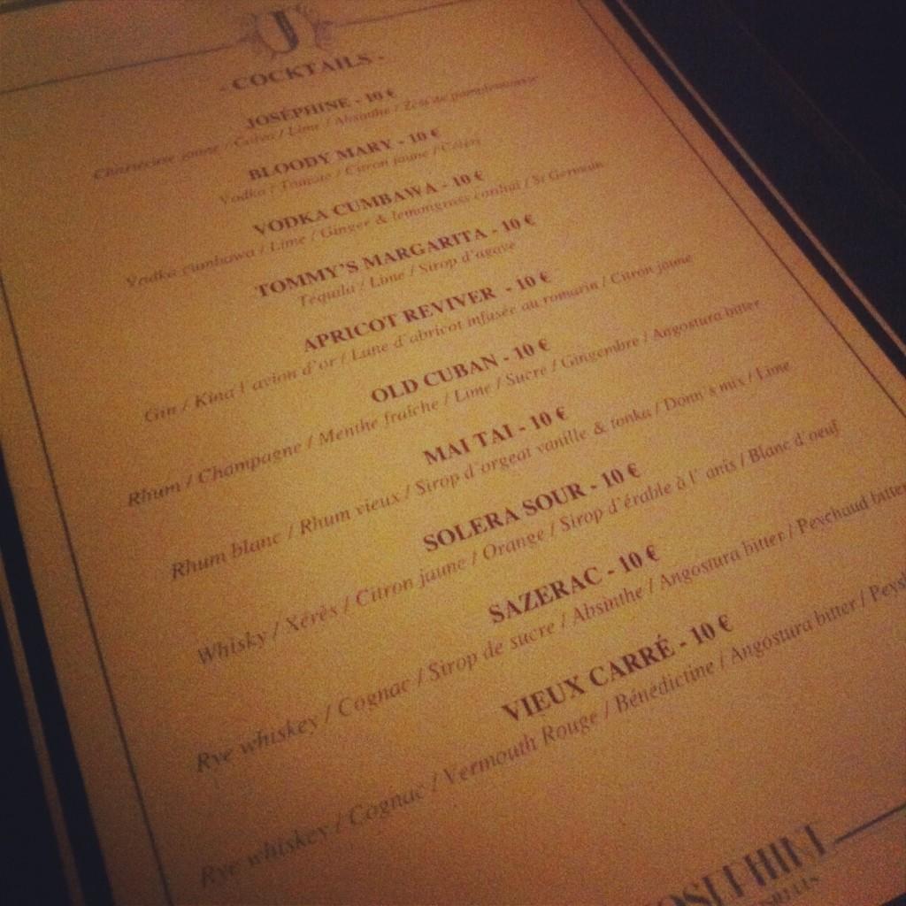 Josephine - Carte des cocktails